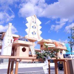 地鎮祭 祭壇と青空
